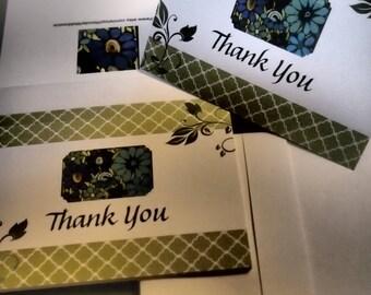 25% SALE  Thank You Card Set - Green Vines & Blue Flowers (Blank Inside)