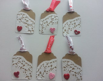 Set of 10 - Doily Heart Gift Tag
