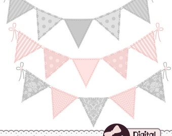 Pink and Grey Bunting Banner Clipart, for Commercial Use, Flag Banner Clip Art