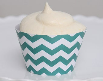 INSTANT DOWNLOAD – Printable Teal Chevron Cupcake Wrapper – Printable Cupcake Wrappers