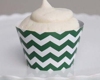INSTANT DOWNLOAD – Printable Green Chevron Cupcake Wrapper – Printable Cupcake Wrappers