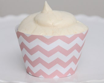 INSTANT DOWNLOAD – Printable Pastel Pink Chevron Cupcake Wrapper – Printable Cupcake Wrappers