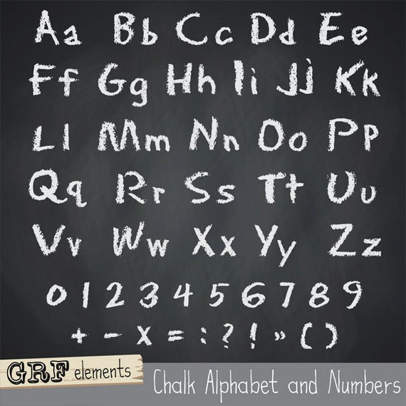 Items similar to Chalk Character set - Individual alphabet and numbers ...