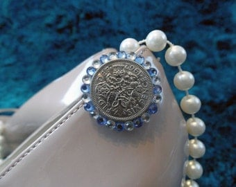 A sixpence for your wedding shoe - blue & clear crystal embellished silver coin shoe clip 23/24mm