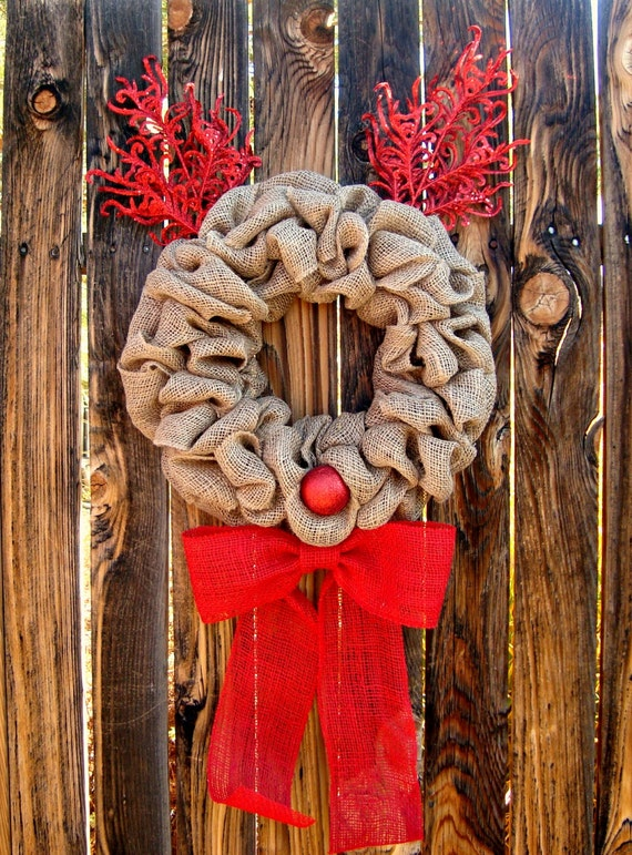 Rudolph Burlap Christmas Wreath