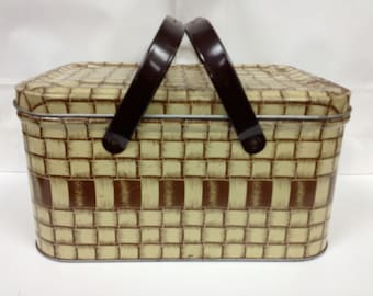 Picnic Basket Tin with Woven Basket Lithograph - Price Reduced!