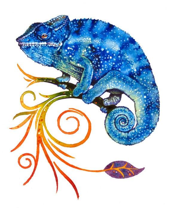 Chameleon Watercolor Tattoo: Blue Chameleon Watercolor Illustrations Art Print Poster