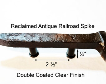 "2 1/2"" Right Sealed Railroad Spike Cupboard Handle Dresser Drawer Pull Cabinet Knob Antique Vintage Old Rustic Re-purposed House Restoration"