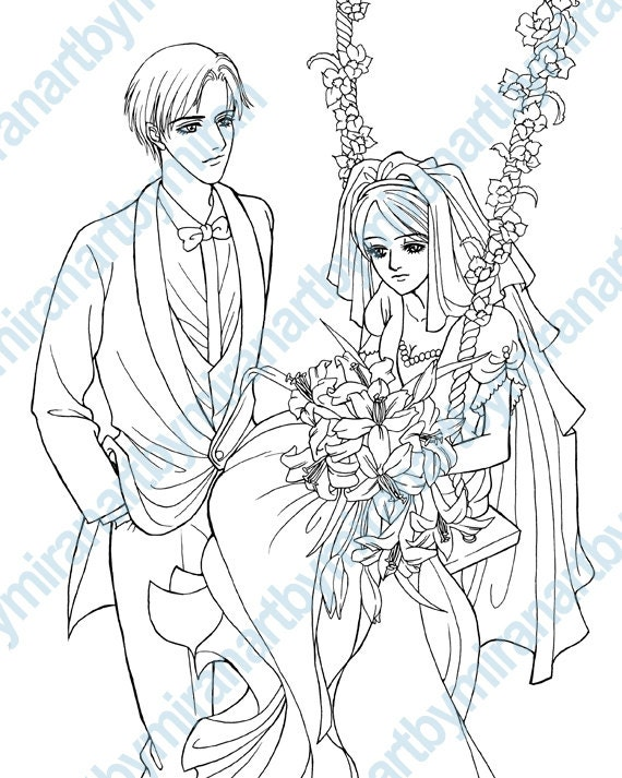 Wedding Digital Coloring Page Stamp Book Anime Manga Instant Download 8 X 10 Inch