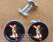 BETTIE PAGE Cat TATTOO Leather Key Ring Fob --or-- Nickel Cufflinks  Ships Tomorrow