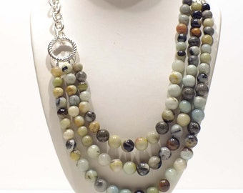 Statement Necklace - Bead Necklace - Multistrand Amazonite Necklace with Round Beads -