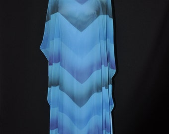 Blue Sheath Gown with Chevron Overlay - 1970's