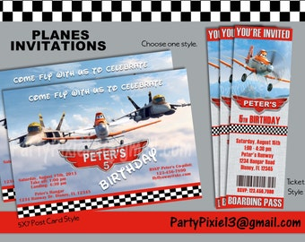 Disney Planes Party Invitation 5x7 or Ticket Style - Printable and customized with your personal party details. Digital File.