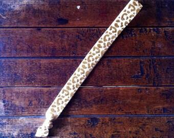 Cream Gold Leopard Headband