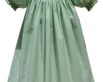 Green Jack-A-Lantern Hand Smocked Bishop Short Sleeve Style Dress a must have for this Halloween pumpkins.  17567