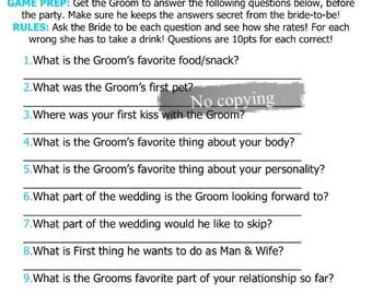 Bride Groom Quiz