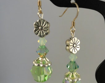 Peridot swarovski crystal earrings