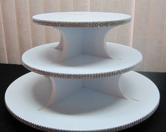 25 - 35 Cupcakes - 3 Tier Round, Square or Petal Cupcake Stand, Sparkly Rhinestone Mesh, Wedding, Quinceanera, Sweet 16, Birthday, 12 colors