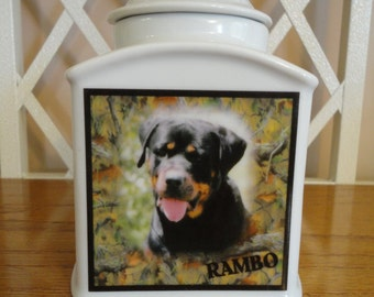 "Dog Urn, Pet Urn, Memorial ""Personalized"", Cat, Pet, Photo Urn, Add Photo, Poem, Clipart, Name, Dates, Sentiment"