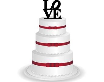 Love Cake Topper - Wedding Cake Topper Silhouette