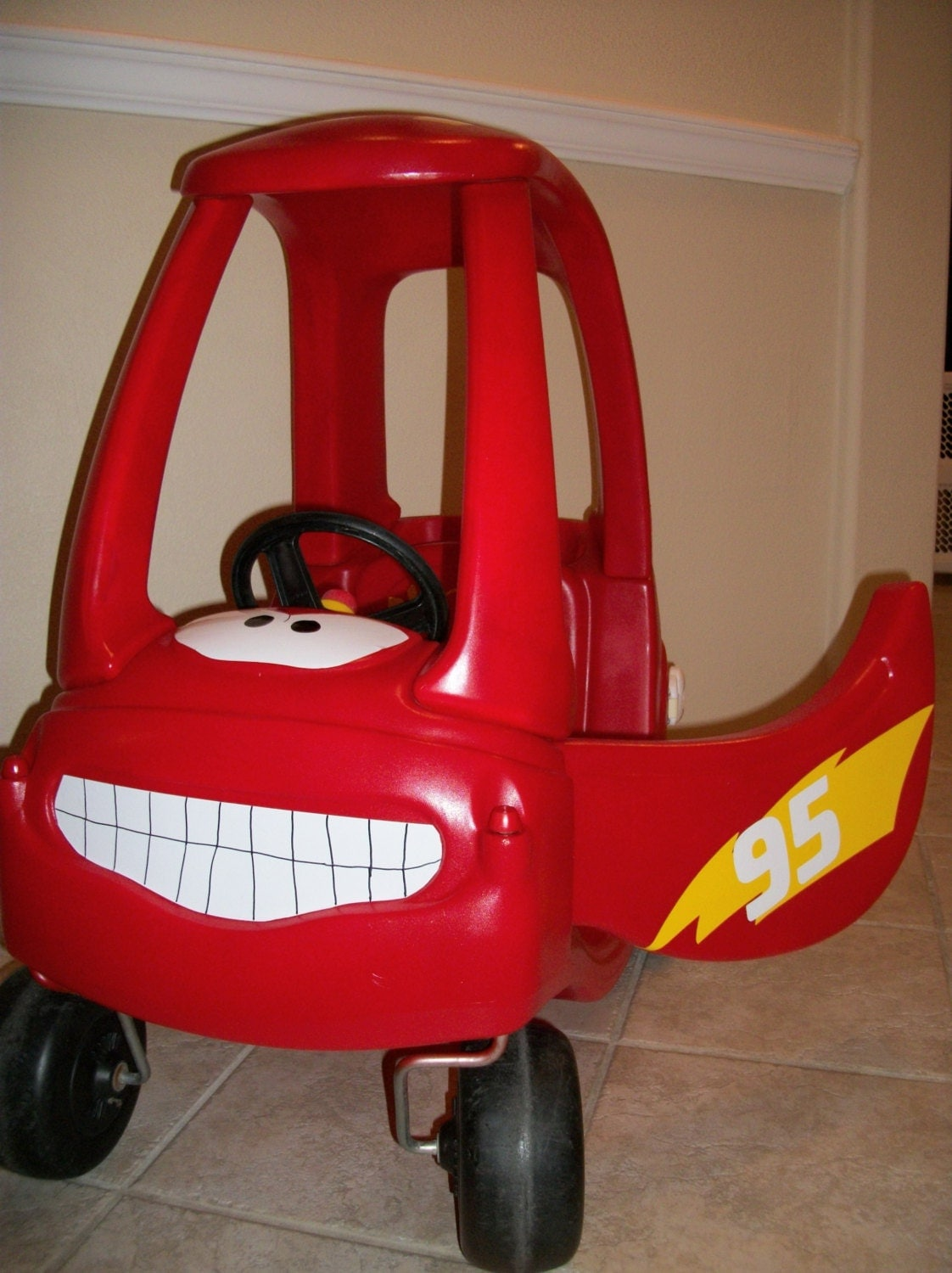 Lightning McQueen Car Cozy Coupe Kit Vinyl Sticker And - Lightning mcqueen custom vinyl decals for car
