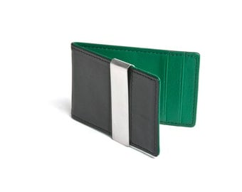 Men's Leather Money Clip Wallet - Green Wallet, Gifts for men, Father's Day Gift, Gifts for Grandpa, Birthday Gift, Graduation Gift