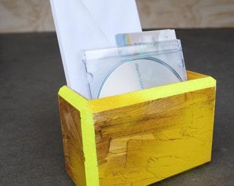 Highlighter Yellow Vibrant Modular Cubby/Organizer, Handmade, Hand painted