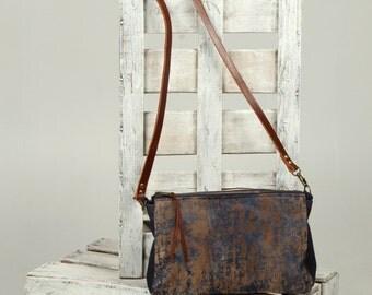 Denim messenger bag, shoulder bag, medium bag, denim with brown suede, crossbody bag, casual shoulder bag, accessories, handmade.