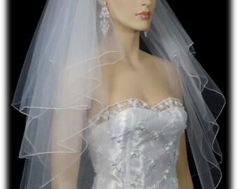 4 layer Veil / Veils Wedding Bridal 21x25x29x33 White Or Ivory Pencil Edge bridal veil | 4 tier pencil