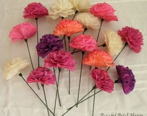 Coffee Filter Flowers WITH STEMS-Custom Dyed Coffee Filter Flowers