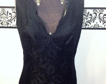 80's Does 50's Bombshell Jet Black Lace Dress by CDC, Size 6, Vintage Pin Up style 1980's Lace Dress