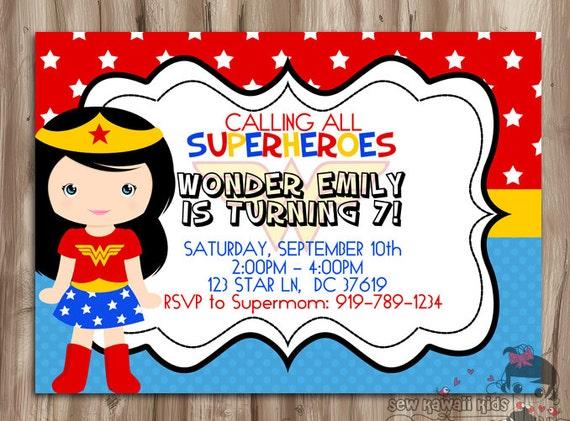 WONDER WOMAN Birthday Invitation SuperHero by KawaiiKidsDesign