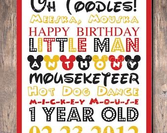 Mickey Mouse Birthday Party Custom Sign Subway Art (Digital File)