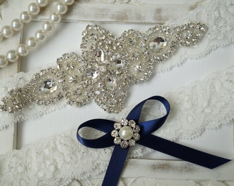 Wedding Garter Set, Bridal Garter Set, Vintage Wedding, Ivory Lace Garter, Crystal Garter Set, Something Blue - Style 100B