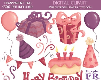 BIRTHDAY GIRL - Digital Clipart, Clip art. 11 images, 300 dpi. jpeg, png files. Instant download.