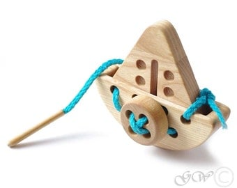 Wooden Lacing Toy, Wooden Ship Toy, Natural Organic Wood Toy