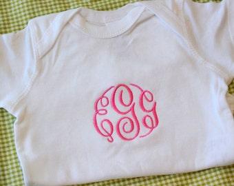 Short Sleeved Monogrammed Baby Onesie