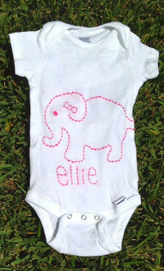 Personalized custom embroidered baby elephant by pocketthreads
