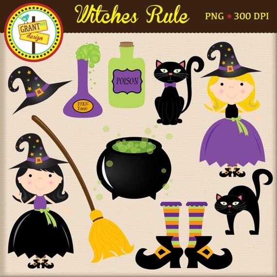 Halloween Clipart Witch Cute Digital