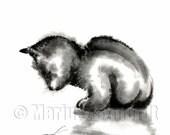CAT Little Kitten Beetle Gray Black White Cream GICLEE fine art print of watercolor and ink PAINTING by sumi-e artist Mariusz Szmerdt
