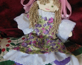 Handsewn original art doll, Lucia.
