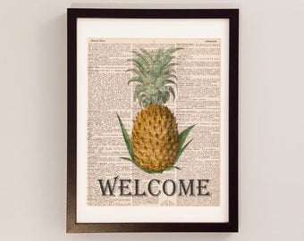 Vintage Welcome Pineapple Print - Dictionary Art - Print on Vintage Dictionary Paper - Pineapple Print - Welcome Art - Home Decor