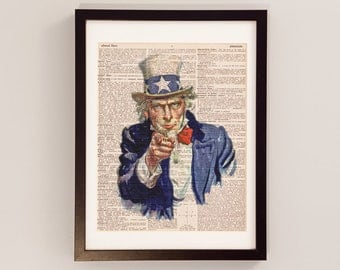 Uncle Sam Dictionary Art Print - Uncle Sam I Want You - James Montgomery Flagg - Print on Vintage Dictionary Paper - Dictionart