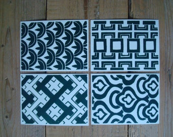 Dark Green Retro Patterns - set of 4 single cards with original lino print