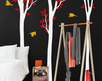 Set of 3  Large tree wall decals with birds, Tree mural, Vinyl Wall Decal , Home decor -  K023