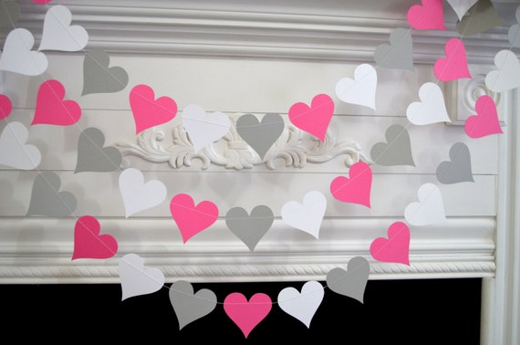 Wedding Garland Valentines Garland White Gray Pink Heart