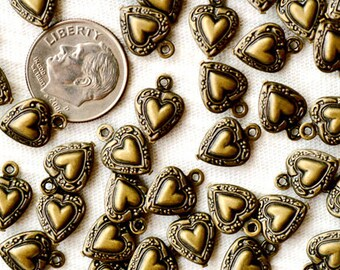Antique Bronze Plated Brass Filigree Heart Charm Bead 12mm rb12b(40pcs)