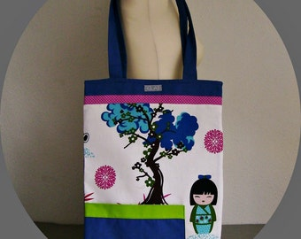 "tote bag for works, books, shopping, notebook case, 2 differents looks 13""x17"", quilt, covered, 2 external pockets"