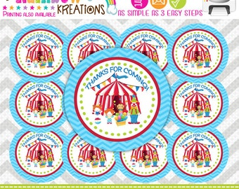 507 Favor Tags: Circus Clowns Tags or Stickers - Instant Downloadable File