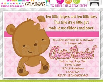 134: DIY - Sweet Little Bear Party Invitation Or Thank You Card